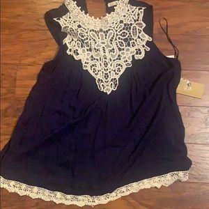 Tops - High neck with lace detail top New with tags! Navy